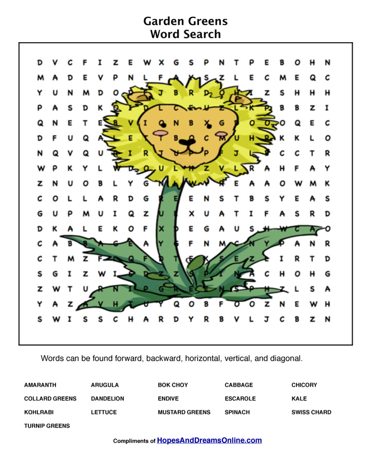Garden Greens Word Search